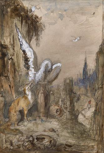 Gustave Moreau, Le Renard et la Cigogne. Graphite, aquarelle, gouache sur papier beige, dim. 29 x 20cm. Paris, musée Gustave Moreau, Cat. 446. © RMN-GP/René-Gabriel Ojéda.