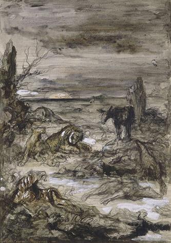 Gustave Moreau, Les Animaux malades de la peste. Graphite, aquarelle, gouache, dim. 30 x21,5cm. Paris, musée Gustave Moreau, Cat. 424. © RMN-GP / René-Gabriel Ojéda.