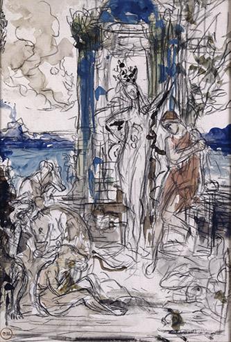 Gustave Moreau, Les Compagnons d'Ulysse, 1884. Pierre noire, aquarelle, gouache, dim. 29,4 x 19,8cm. Paris, musée Gustave Moreau, Des. 948. © RMN-GP / René-Gabriel Ojéda.