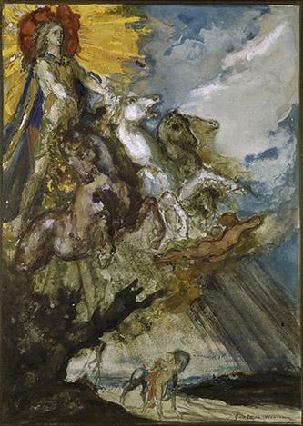 Gustave Moreau, Phébus et Borée. Plume, encre brune, gouache, dim. 29,5 x 21cm. Paris, musée Gustave Moreau, Cat. 492. © RMN-GP / René-Gabriel Ojéda.