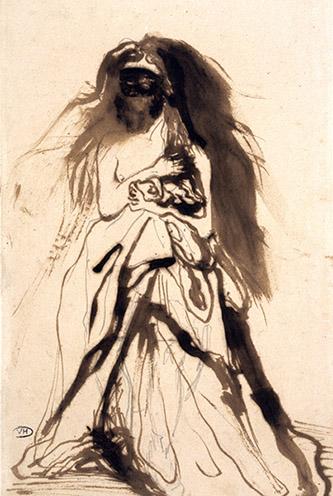 Victor Hugo, Femme masquée retenant son manteau, 1866 © Paris Musées / Maisons de Victor Hugo Paris-Guernesey.
