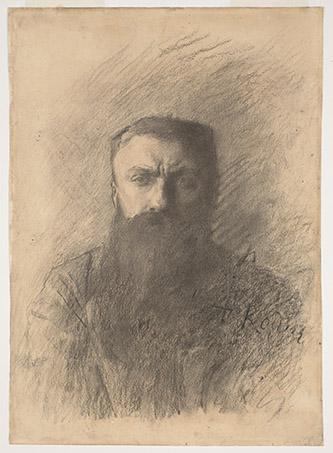 Auguste Rodin, Autoportrait, vers le 11 novembre 1898, fusain sur papier vélin, H. 42 x L. 29,8 cm, Paris, Musée Rodin, D. 7102 © Musée Rodin, ph. Jean de Calan.
