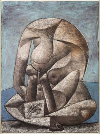 Pablo Picasso, Grande Baigneuse au livre, Paris, 18 février 1937, huile sur toile, H. 130 x L. 97,5 cm, Musée national Picasso-Paris, Photo © RMNGrand Palais, Mathieu Rabeau © Succession Picasso 2021.