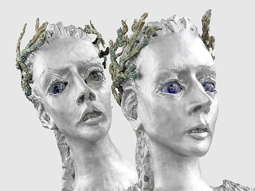 Jean-Marie Appriou, The Murmur (détail), 2021, aluminum patiné, bronze, verre, 180 x 162 x 148 cm. © Jean-Marie Appriou. Courtesy the artist and Galerie Eva Presenhuber, Zurich / New York. Photo: Stefan Altenburger Photography, Zürich.