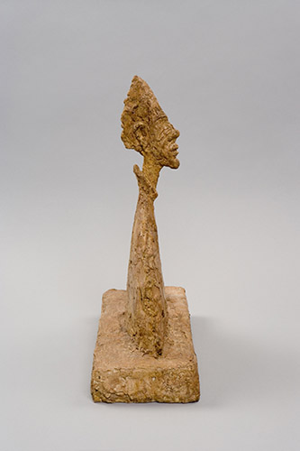 Alberto Giacometti, Buste mince sur socle (dit Aménophis), 1954. Plâtre, 39,7 x 33,1 x 13,7 cm. Fondation Giacometti. © Succession Alberto Giacometti (Fondation Giacometti + ADAGP, Paris) 2021.