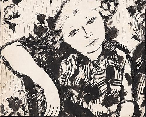 Jean Lurçat, Portrait de jeune fille, 1918, lavis d'encre sur papier, 63 x 100 cm. Crédits photographiques: © Collection Fondation Jean et Simone Lurçat- Académie des beaux-arts.