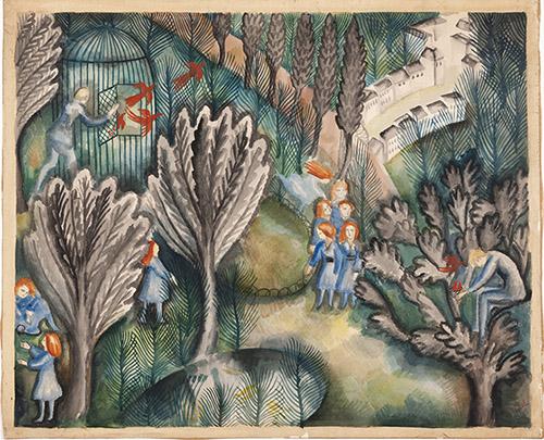 Jean Lurçat, Les amours d'0cello, 1919, gouache sur papier 56 x 70 cm. Crédits photographiques: © Collection Fondation Jean et Simone Lurçat- Académie des beaux-arts.