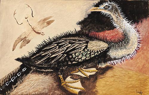 Jean Lurçat, Cormoran et libellule, circa 1947, gouache sur papier, 63 x 100 cm. Crédits photographiques: © Collection Fondation Jean et Simone Lurçat- Académie des beaux-arts.