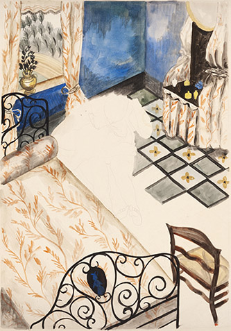 Jean Lurçat, Intérieur, 1920, aquarelle sur papier, 74 x 55 cm. Crédits photographiques: © Collection Fondation Jean et Simone Lurçat- Académie des beaux-arts.