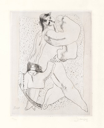 Jean Lurçat, L'Arlequin et l'enfant, 1925, pointe sèche, 31 x 25 cm. Crédits photographiques: © Collection Fondation Jean et Simone Lurçat- Académie des beaux-arts.