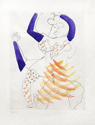 Jean Lurçat, Saltimbanques, 1925, pointe sèche et gouache, 32 x 31 cm. Crédits photographiques: © Collection Fondation Jean et Simone Lurçat- Académie des beaux-arts.