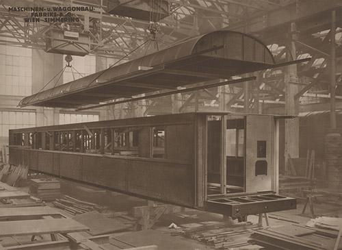 Construction de voitures-lits et voitures restaurants par la Mashinen und Waggonbaufabrik de Vienne-Simmering pour la CIWL. Photographie: Wilhelm Wagner, Atelier für industrielle und technische Photographie, 1930.