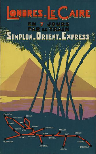 Affiche publicitaire pour les trains Simplon-Orient-Express, par Jacques Touchet, 1930.