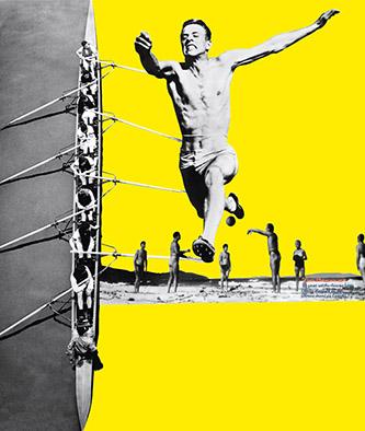 Détails du photomontage La Grande misère de Paris de Charlotte Perriand dans une  reconstitution contemporaine par Jacques Barsac (2010) à partir de documents et de photographies d'époque, avec une restitution des couleurs d'après la charte des Congrès internationaux d'architecture moderne.