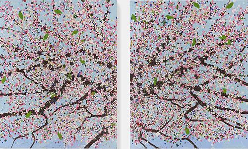 Damien Hirst, Spiritual Day Blossom, 2018. Collection Fondation Cartier pour l'art contemporain. Huile sur toile, 305 x 244 cm. © Damien Hirst and Science Ltd.. Tous droits réservés, ADAGP, Paris, 2021. Photo Prudence Cuming Associates.