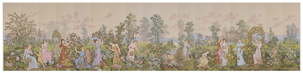 Papier peint Saisons des fleurs — Prosper Tétrel, dessinateur Société anonyme des Anciens établissements Desfossé & Karth (1899- 1947), fabricant éditeur, Issy-les-Moulineaux, 1898-1899. © MAD, Paris / Jean Tholance.
