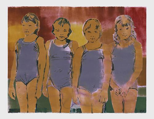 Claire Tabouret, Four Swimmers (purple), 2020. Galerie Almine Rech.