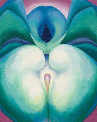 Georgia O'Keeffe, Series I White & Blue Flower Shapes, 1919. Huile sur panneau, 50,5 x 40 cm. Georgia O'Keeffe Museum, Santa Fe. Don de la Georgia O'Keeffe Foundation Photo © Tim Nighswander/Imaging4Art. © Georgia O'Keeffe Museum / Adagp, Paris, 2021.