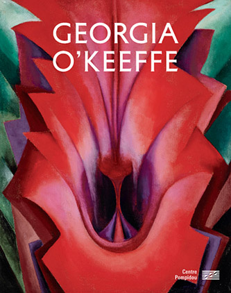 Couverture du catalogue de l'exposition Georgia O'Keeffe, sous la direction de Didier Ottinger aux éditions du Centre Pompidou, Format : 21 × 27 cm, 272 pages , 42€, Tirage à 10 000 ex., avec l'œuvre Inside Red Canna, 1919.