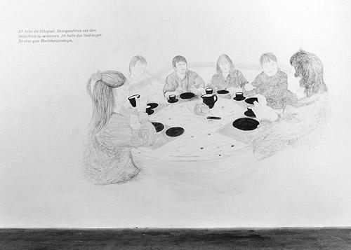 Claudia & Julia Müller, Zeichnungsraum, détail de l'installation (crayon sur mur), Kunsthalle St.Gallen, 1995. Photos : Nicole Zachmann. Courtesy des artistes.