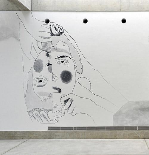 Claudia & Julia Müller, La soupe fractale, détail de l'installation Der weiche Blick (acrylique sur mur), 2019. Photo : Stefan Altenburger. Courtesy des artistes.