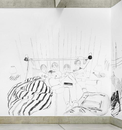 Claudia & Julia Müller, kids_in_bed_chill_and_netflix, détail de l'installation Der weiche Blick (acrylique sur mur) 2019. Photo : Stefan Altenburger. Courtesy des artistes.