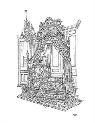 Christelle Téa, Lit à la Polonaise, Musée Cognacq-Jay, Paris, 5.VIII.2019. Encre de Chine sur papier, 65 x 50 cm. © Christelle Téa.