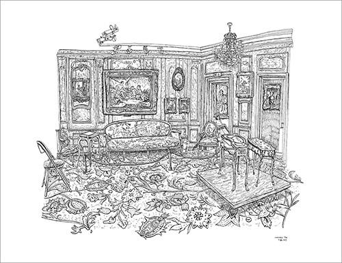 Christelle Téa, Le Salon Boucher, Musée Cognacq-Jay, Paris, 15.X.2019. Encre de Chine sur papier, 50 x 65 cm. © Christelle Téa.