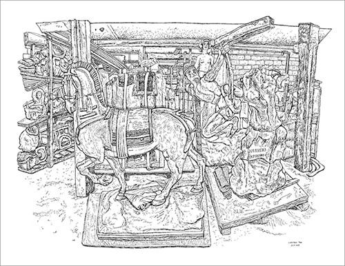 Christelle Téa, La réserve des moules, Musée Bourdelle, Paris, 22.XI.2019. Encre de Chine sur papier, 50 x 65 cm. © Christelle Téa.