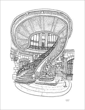 Christelle Téa, L'Escalier, Petit Palais, 6.XI.2019. Encre de Chine sur papier, 65 x 50 cm. © Christelle Téa.