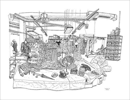 Christelle Téa, Réserve du Palais Galliera, rue Servan, Paris, 11.XII.2019. Encre de Chine sur papier 50 x 65 cm. © Christelle Téa.