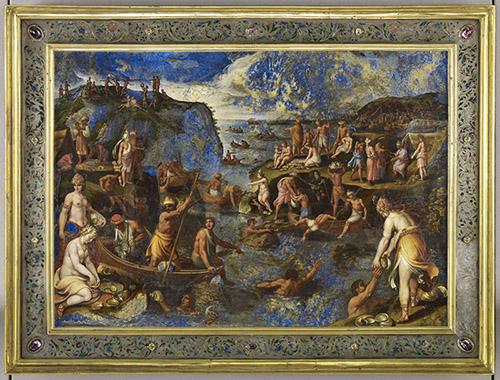 La pêche des perles aux Indes, huile sur lapis-lazuli, Tempesta. © RMN-Grand Palais (musée du Louvre) - Franck Raux.