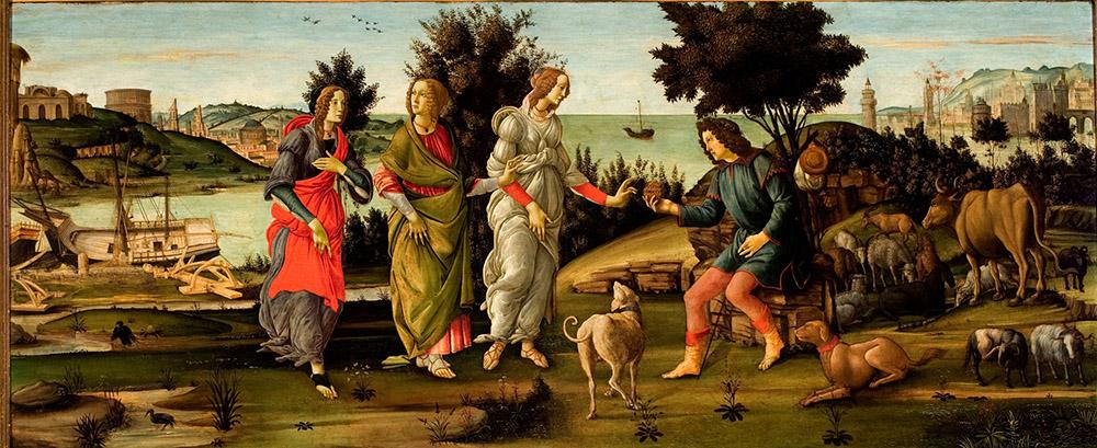 Alessandro Filipepi dit Botticelli (vers 1445 – 1510) et atelier, Le Jugement de Pâris, vers 1482-1485, tempera sur bois, 81 x 197 cm, Venise, Fondazione Giorgio Cini, Galleria di Palazzo Cini, Venezia © Fondazione Giorgio Cini.