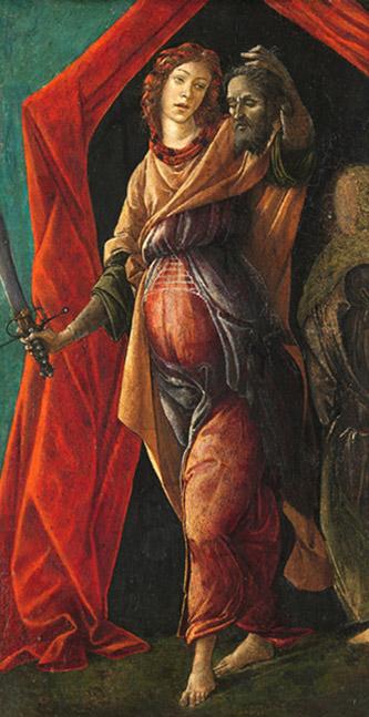 Alessandro Filipepi dit Botticelli (vers 1445 – 1510), Judith tenant la tête d'Holopherne, fin des années 1490, tempera sur bois, 36,5 x 20 cm, Amsterdam, Rijksmuseum, Legs de J.W.E. vom Rath, Photo : Rijksmuseum, Amsterdam.
