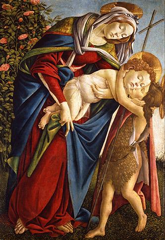 Alessandro Filipepi dit Botticelli (vers 1445 – 1510), Vierge à l'Enfant avec le jeune saint Jean-Baptiste, vers 1505, tempera et huile sur toile, 134 x 92 cm, Florence, Gallerie degli Uffizi (Palazzo Pitti, Galleria Palatina), Photo : Gabinetto Fotografico delle Gallerie degli Uffizi.