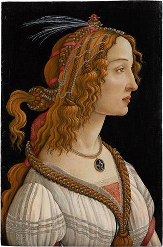 Alessandro Filipepi dit Botticelli (vers 1445 – 1510), Figure allégorique dite La Belle Simonetta, vers 1485, tempera et huile sur bois de peuplier , 81,8 x 54 cm, Francfort-sur-le-Main, Städel Museum, CC BY-SA 4.0 Städel Museum, Frankfurt am Main.