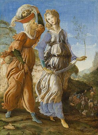 Alessandro Filipepi dit Botticelli (vers 1445 – 1510) et Filippino Lippi (1457 – 1504), Le retour de Judith à Béthulie (recto), 1469-1470, tempera sur bois, 29,2 x 21,6 cm, Cincinnati, Cincinnati Art Museum, Fonds John J. Emery, 1954.463.