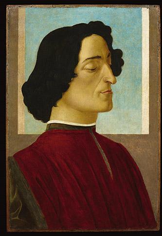 Alessandro Filipepi dit Botticelli (vers 1445 – 1510), Portrait de Julien de Médicis, vers 1478–1480, tempera et huile sur bois, 59,5 x 39,3 cm, Bergame, Accademia Carrara © Fondazione Accademia Carrara, Bergamo.