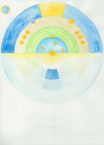 Jean-Michel Othoniel, Dessin préparatoire pour l'exposition Le Théorème de Narcisse, 2021. Aquarelle sur papier. © Jean-Michel Othoniel / Adagp, Paris, 2021. Droits réservés.