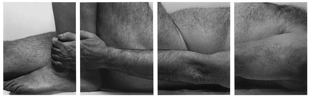 John Coplans, Lying Figure, Holding Leg, Four Panels, 1990. © The John Coplans Trust.