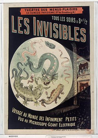 Anonyme, Théâtre des Menus-Plaisirs … tous les soirs à 8h ½ Les Invisibles, 1883. Lithographie en couleurs, 61 x 42,3 cm, France, Paris, BNF. Photo © Photo BnF.