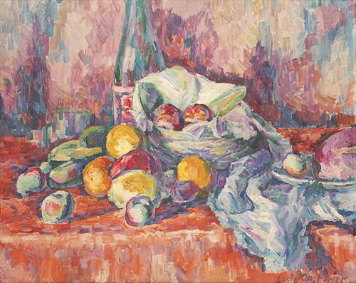 Lucie Cousturier (1876-1925), Nature morte fruits, Vers 1903. Huile sur toile, 50,5 x 61 cm. Collection particulière. © droits réservés.