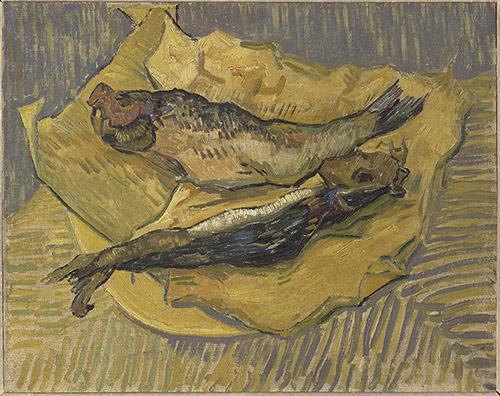 Van Gogh (1853-1890), Deux harengs, 1889. Huile sur toile, 32 x 40 cm. Collection particulière. Photo © musée d'Orsay / Patrice Schmidt.