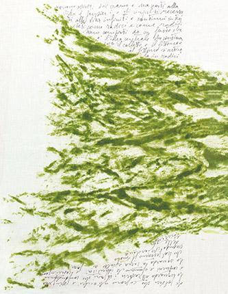 Giuseppe Penone. Pensieri e linfa (Sève et pensée), 2017/2018. Toile, pigment végétal, encre. Collection particulière. © Adagp, Paris, 2021, photo © Archivio Penone.
