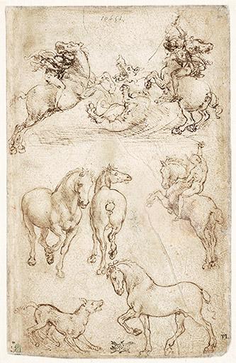 """""""Léonard de Vinci. Animal"""" Armelle Fémelat//Léonard de Vinci, Deux cavaliers combattant un dragon, deux chevaux, un cavalier, un chien et un cheval, sans date. Paris, musée du Louvre. © Photo Musée du Louvre, dist. RMN-Grand Palais/Michel Utrado."""