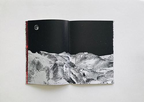 Sandrine Elberg, Double page de Jökull, la mémoire des glaciers (2015-2020)livre publié en autoédition. © Sandrine Elberg.