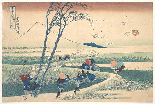 Katsushika Hokusai, Eiji dans la province de Suruga, série Les 36 Vues du mont Fuji, vers 1830-1832. Xylographie, 24,4 x 37,5 cm. The Metropolitan Museum of Art, New York / Henry L. Phillips Collection, Bequest of Henry L. Phillips, 1939.