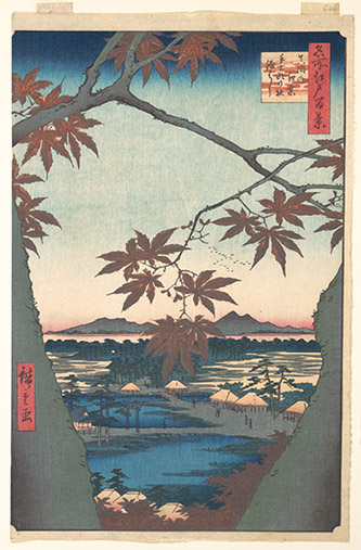 Utagawa Hiroshige, Érables à Mama avec le temple Tekona et le pont Tsugi, pl.94, série Cent vues d'Edo, vers 1857. Xylographie, 35,9 x 23 cm. The Metropolitan Museum of Art, New York / Purchase, Joseph Pulitzer Bequest, 1918.