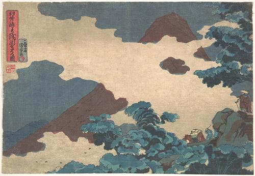 Utagawa Kuniyoshi, Vue du mont Asama, vers 1850. Xylographie, 25,7 x 35,6 cm. The Metropolitan Museum of Art, New York / Rogers Fund, 1922.
