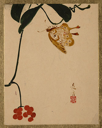 Shibata Zeshin, Fruits rouges et papillon, XIXe siècle. Laque sur papier, 11,4 x 8,9 cm. The Metropolitan Museum of Art, New York / The Howard Mansfield Collection, Purchase, Rogers Fund, 1936.